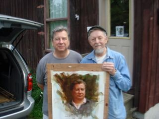 Eric and Richard Schmid with portrait